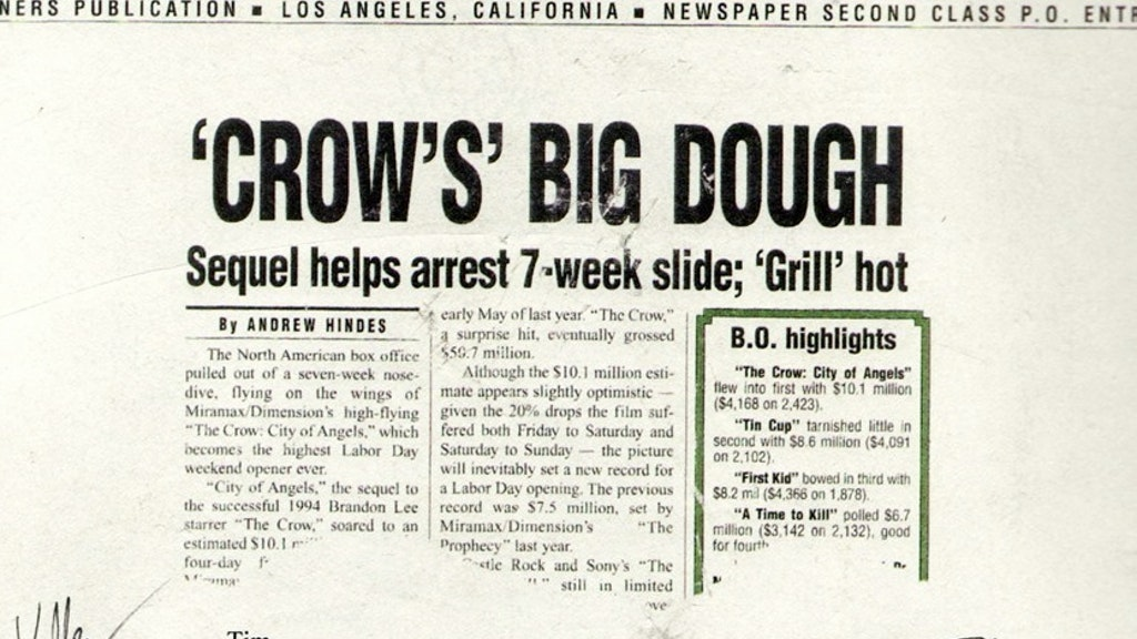 """CROW'S BIG DOUGH"" - VARIETY, TUESDAY 3 SEPT, 1996"