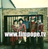 """The Cure """"Lullaby"""" - Tim Pope with the band at studio gates, Battersea, from a Polaroid."""