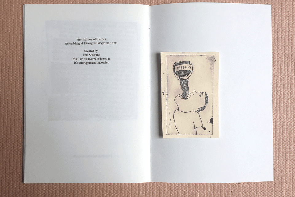 things I thougt last weekend - Individual original etching from inside the zine.