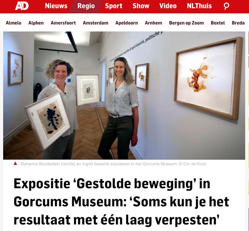 Artikel in AD over expositie gestolde beweging