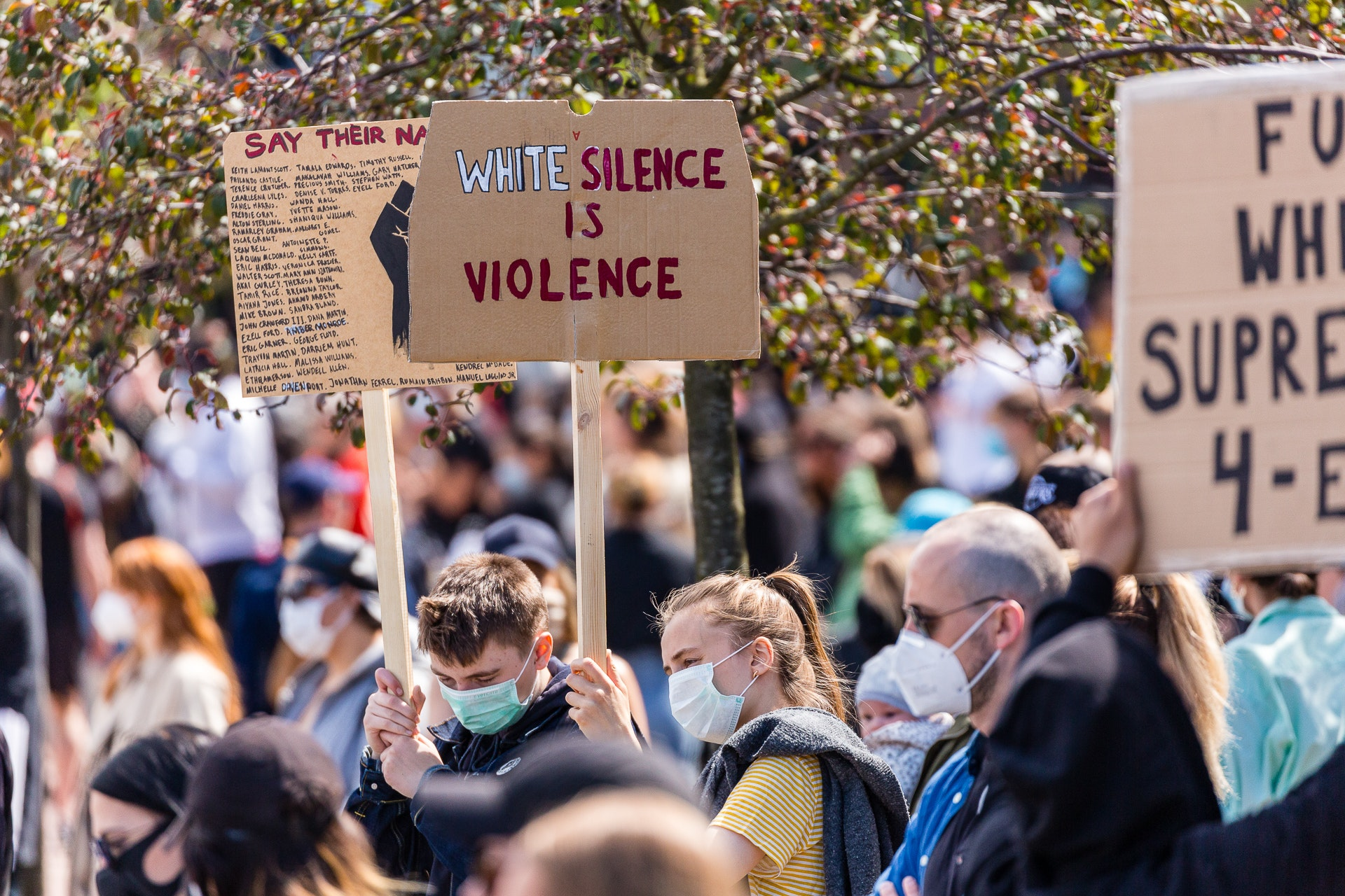 White Silence is Violence Placard at BLM GBG