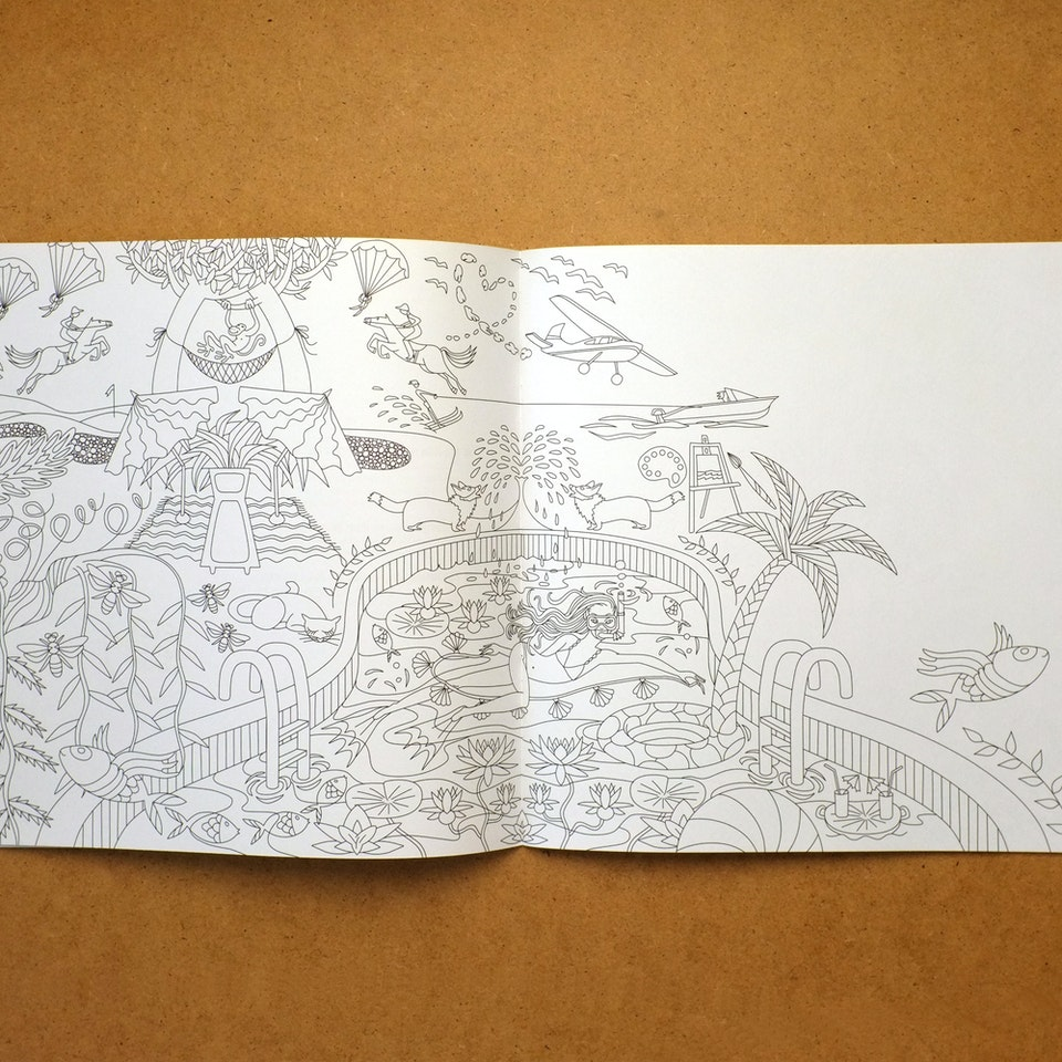 coloring book fine lines for bawag
