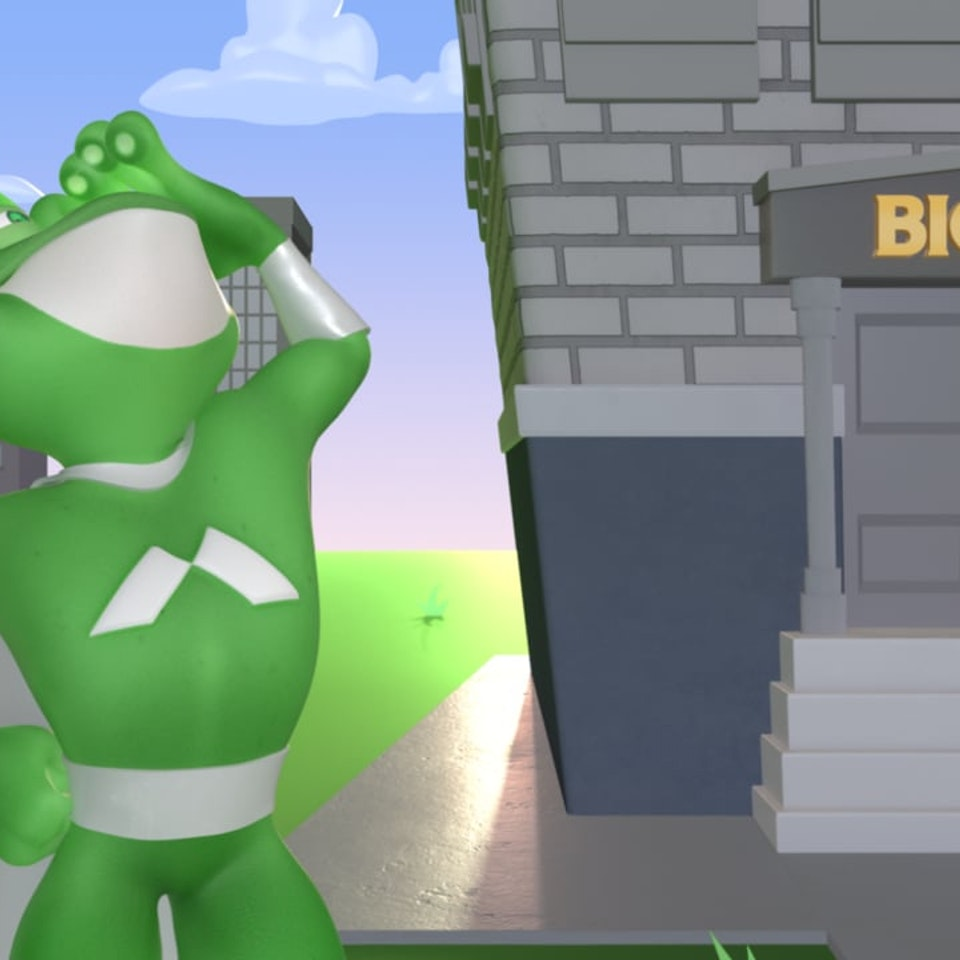 "Road Pictures - Merchants Bank ""Business Super Frog"""
