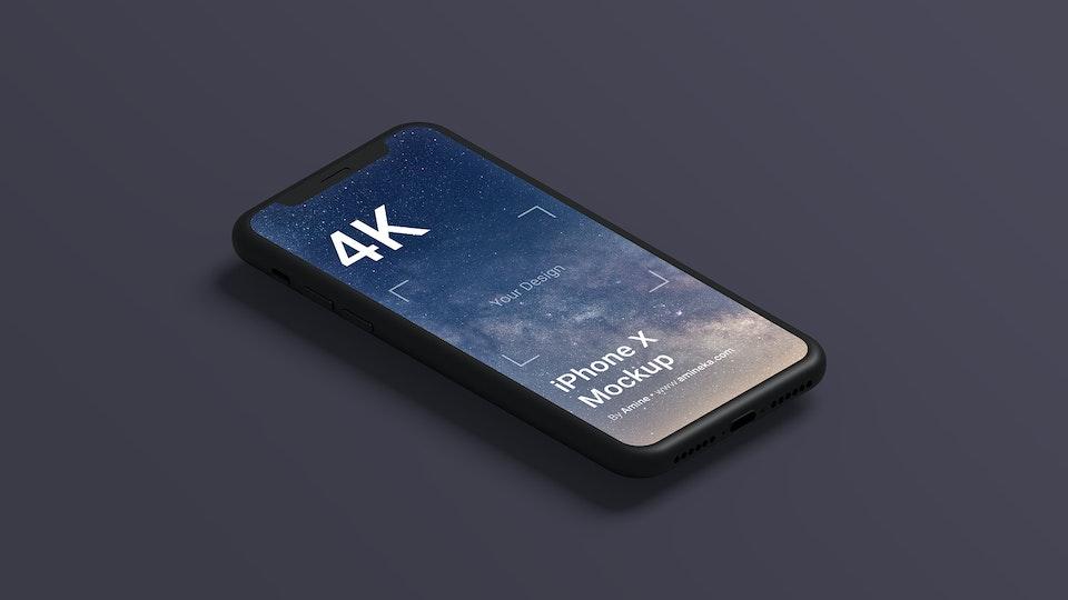 Free Black Clay iPhone X Mockup (PSD)