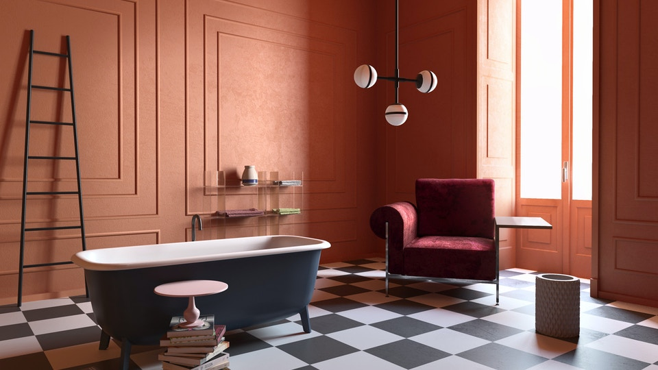 An orange bathroom