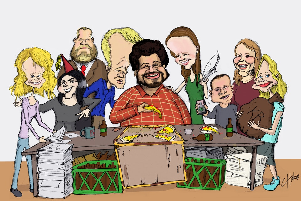 Caricatures - NO: Styret ved Studentersamfundet i Trondheim, 2015-2016  EN: The Board of the Student Society in Trondheim, 2015-2016