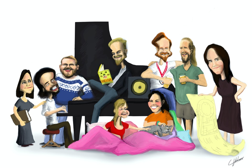 Caricatures - NO: Styret ved Studentersamfundet i Trondheim, 2016-2017  EN: The Board in the Student Society in Trondheim, 2016-2017