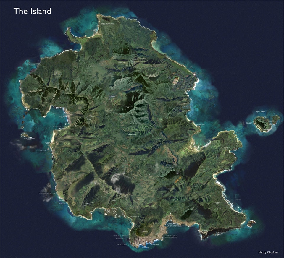 TV SHOW - Lost - A detailed Google Earth map of The Island.  This map of The Island from Lost is comprised of different parts of Oahu that served as the filming location for various places (which is why it might look odd with the shadows and some of the nature). This is due to the crew filming in various places on Oahu, behind parking lots, in ranches, gardens and various beaches, including putting CGI mountains and jungle in the shots. However this is my best attempt at recreating it using most of the locations put on by the brilliant cartographer TheLostMap (http://thelostmap . blogspot . no/), but also a little bit of this Tumblr user (http://theislandmap . tumblr . com/) which is a great attempt on pinpointing the locations. I combined these two cartographers, and tweaked a little bit myself with the stuff I disagreed on in terms of placement. I am happy to discuss why I've put the locations where they are right now. Enjoy!  Higher resolution: https://imgur.com/gallery/2evWW