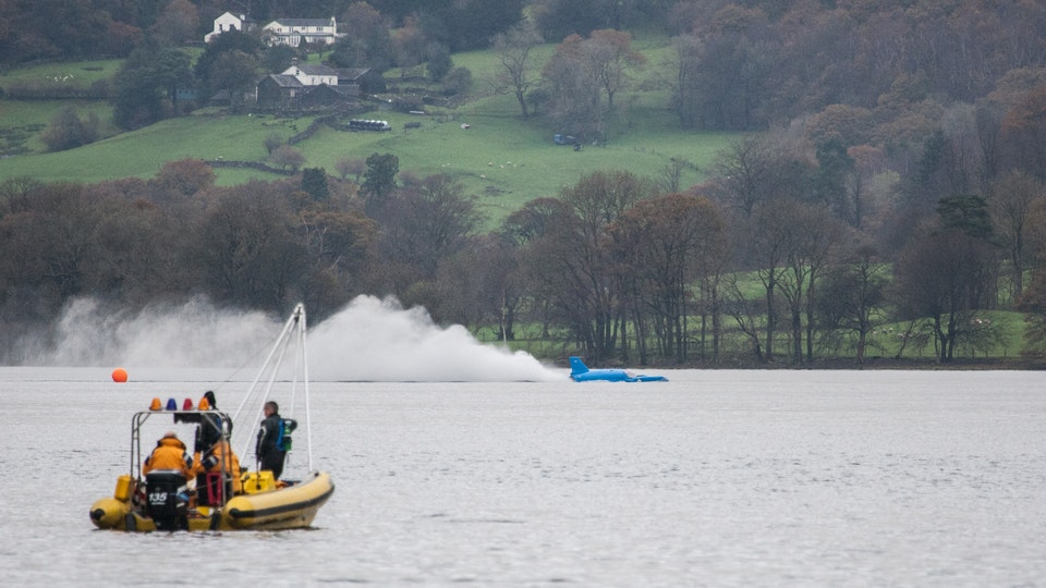 General Commercial Photography - BlueBird Replica runs up the Jet Turbine on Coniston Water.