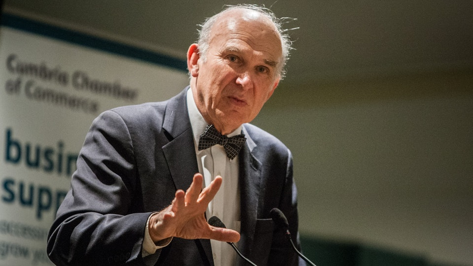 General Commercial Photography - Vince Cable speaks about being Spiderman to Cumbria Chamber of Commerce.