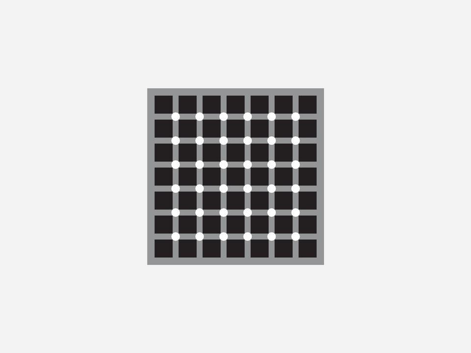 """Science - The Lingelbach effect, or scintillating grid illusion, is an optical illusion similar to the Hermann Grid. It is constructed by superimposing white discs on the intersections of orthogonal gray bars on a black background. Dark dots seem to appear and disappear rapidly at random intersections, hence the label """"scintillating"""". When a person keeps his or her eyes directly on a single intersection, the dark dot does not appear. The dark dots disappear if one is too close to or too far from the image."""