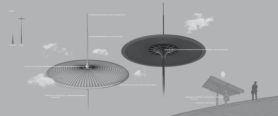 Diagram - I created this personal concept to develop a futuristic structure with solar functionality. The 3d model was created using SketchUp Pro.