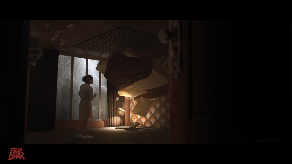 """Fear The Dark - Bedroom Interior Concept - An initial bedroom concept to help establish the mood and support the film pitch for """"Fear The Dark""""."""