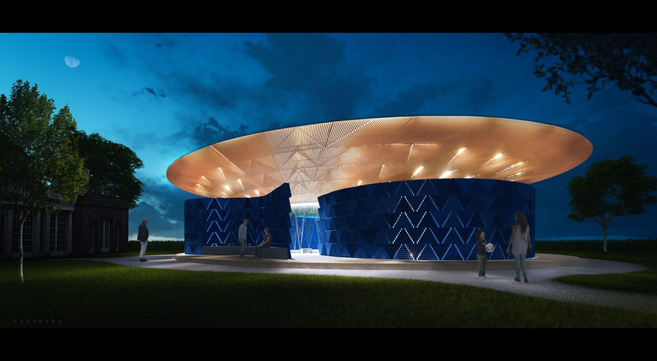 Pavilion - Concept visualisation for the 2017 Serpentine Pavilion in Hyde Park London. The image was used to help communicate the architect's vision for the lighting design and progress the Pavilion from concept to completion.