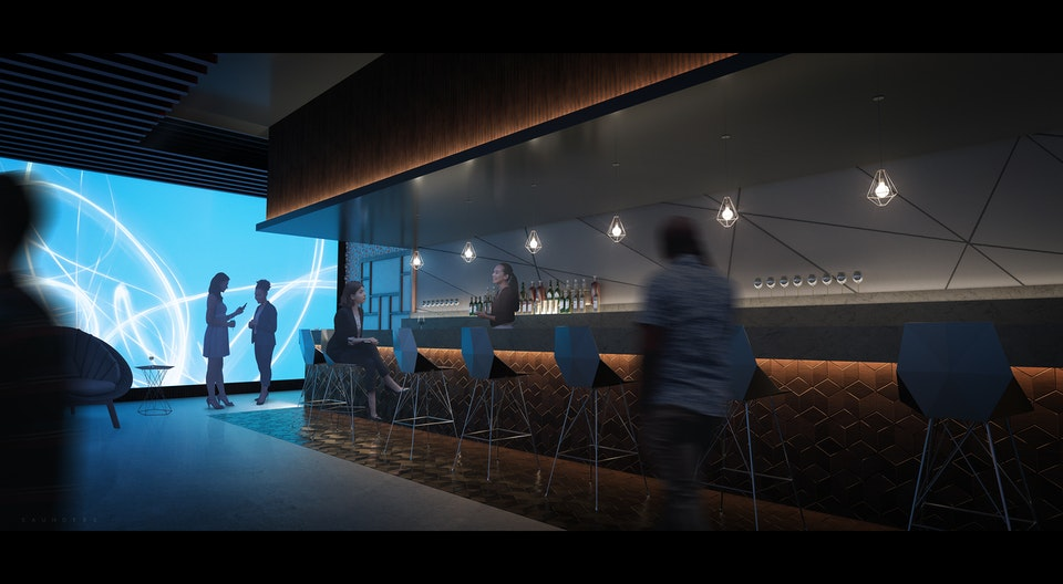 Bar Interior - The brief was to develop an environment design for a futuristic bar and lounge space in the hospitality sector. Metallic and wooden finishes were incorporated to provide contrast and visual interest. Lighting was carefully integrated to provide subtle illumination of the various materials.