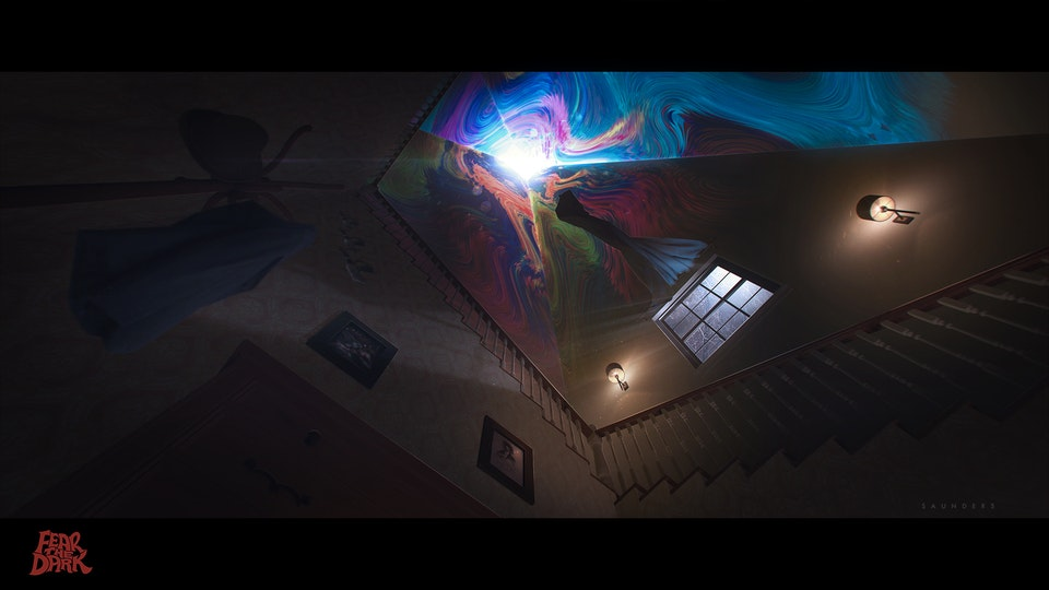 """Fear The Dark - Staircase Concept - A staircase concept to convey the visual and atmospheric effects for the """"Fear The Dark"""" film pitch."""
