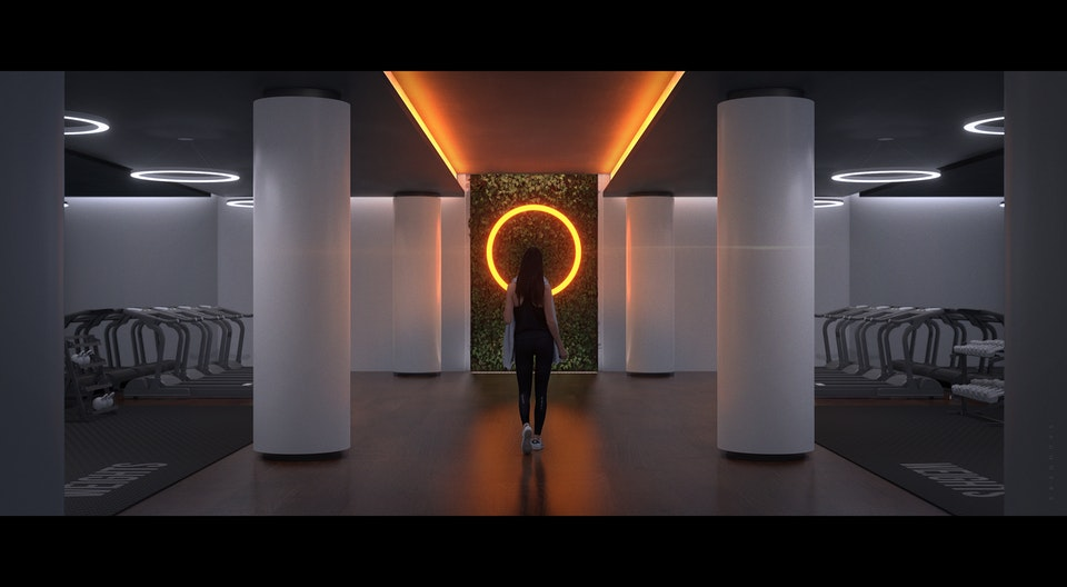 Sci Fi Gym - Conceptual development for a modern gym space. Lighting was used as a wayfinding element to direct visitors to various areas whilst also highlighting equipment placements. Green walls and planters were introduced to promote harmony and wellbeing.