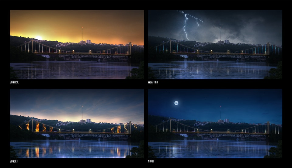 Bridge Lighting Concepts - The following concepts were developed to communicate how the bridge lighting design can adapt to various environmental conditions. Such as colour shifting for sunsets and dynamic animations during thunderstorms.