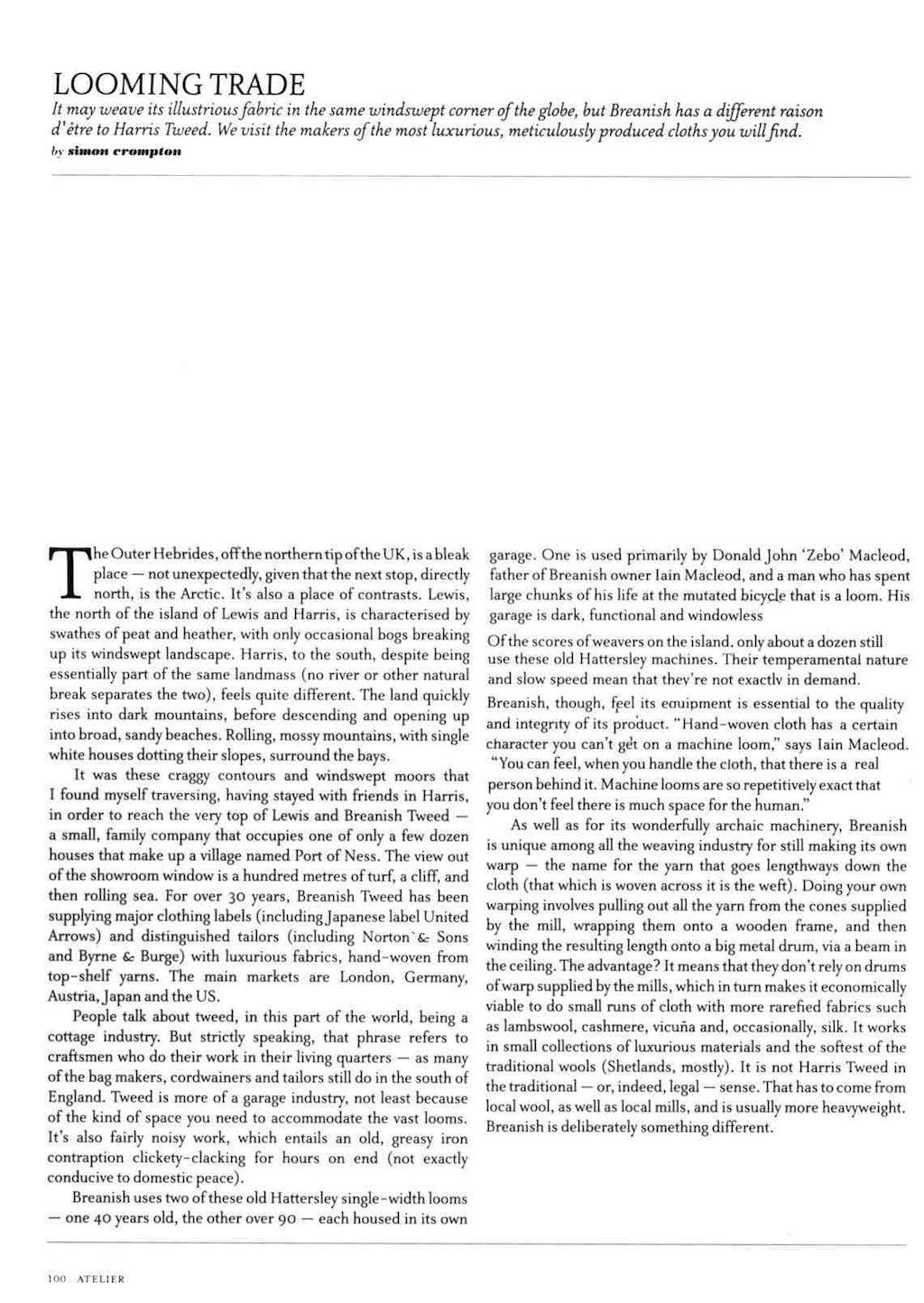 The Rake article on Breanish Tweed
