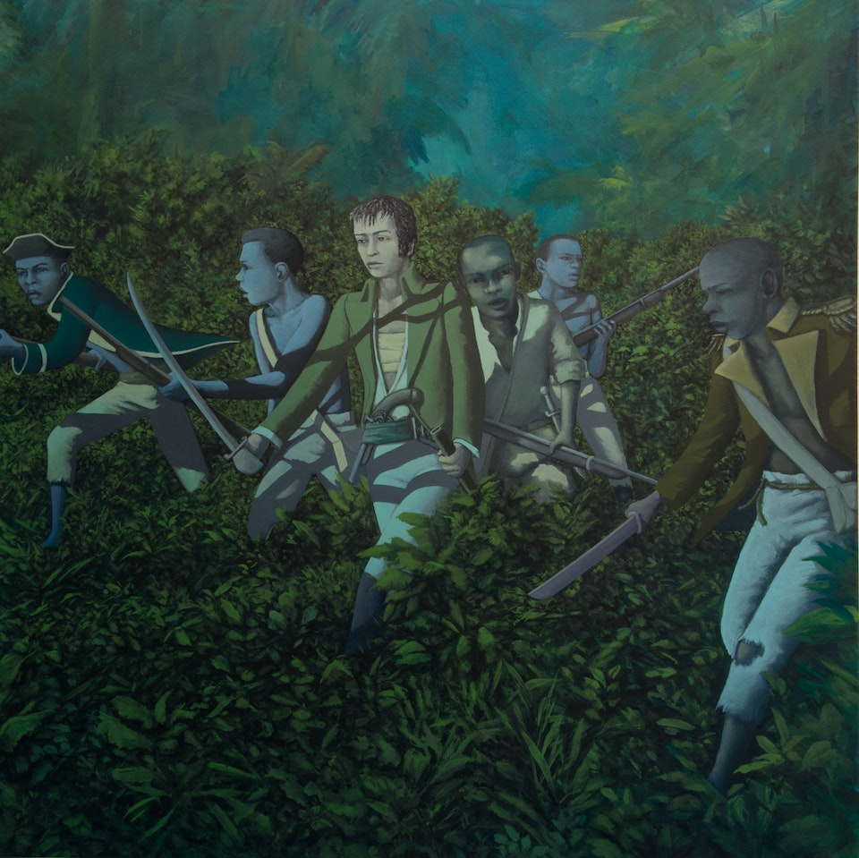4 w_Angioy fights with the Haitian insurgents - acrylic on canvas - cm 80x80 - 2014