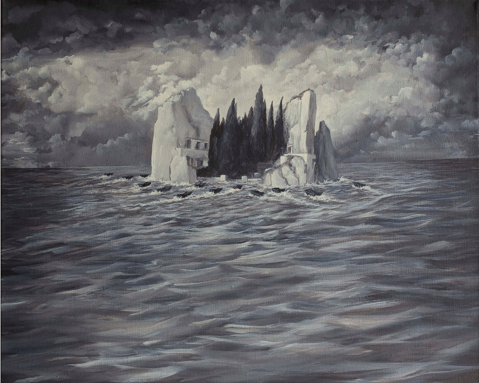 w_AB_The Allies land on the Isle of the Dead  (by Arold Bocklin) - acrilyc on canvas - cm. 30x40 - 2012 - 2012