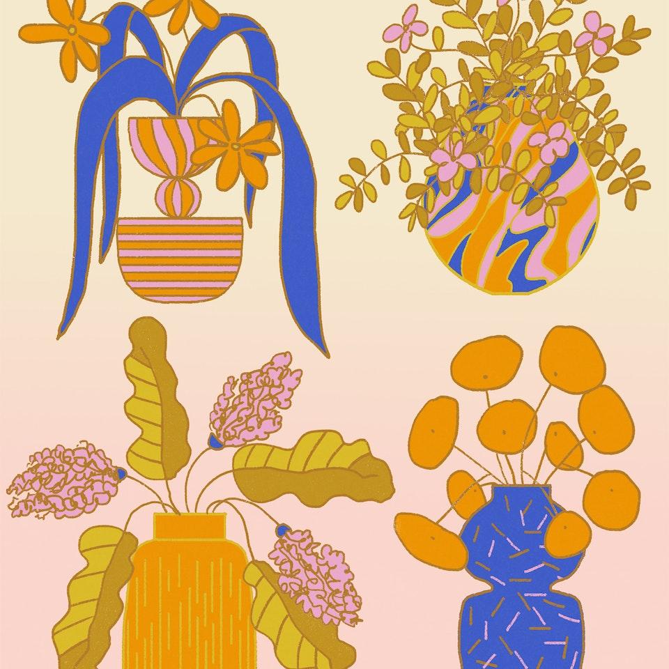 MILICA GOLUBOVIC - Still life in four vases