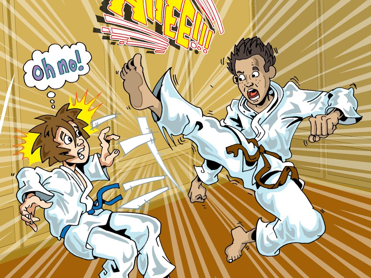 sad cafe martial arts kung fu fighting karate fantasy adventure Funky Happy manga anime childrens cartoon comic strip Book cover illustration animation