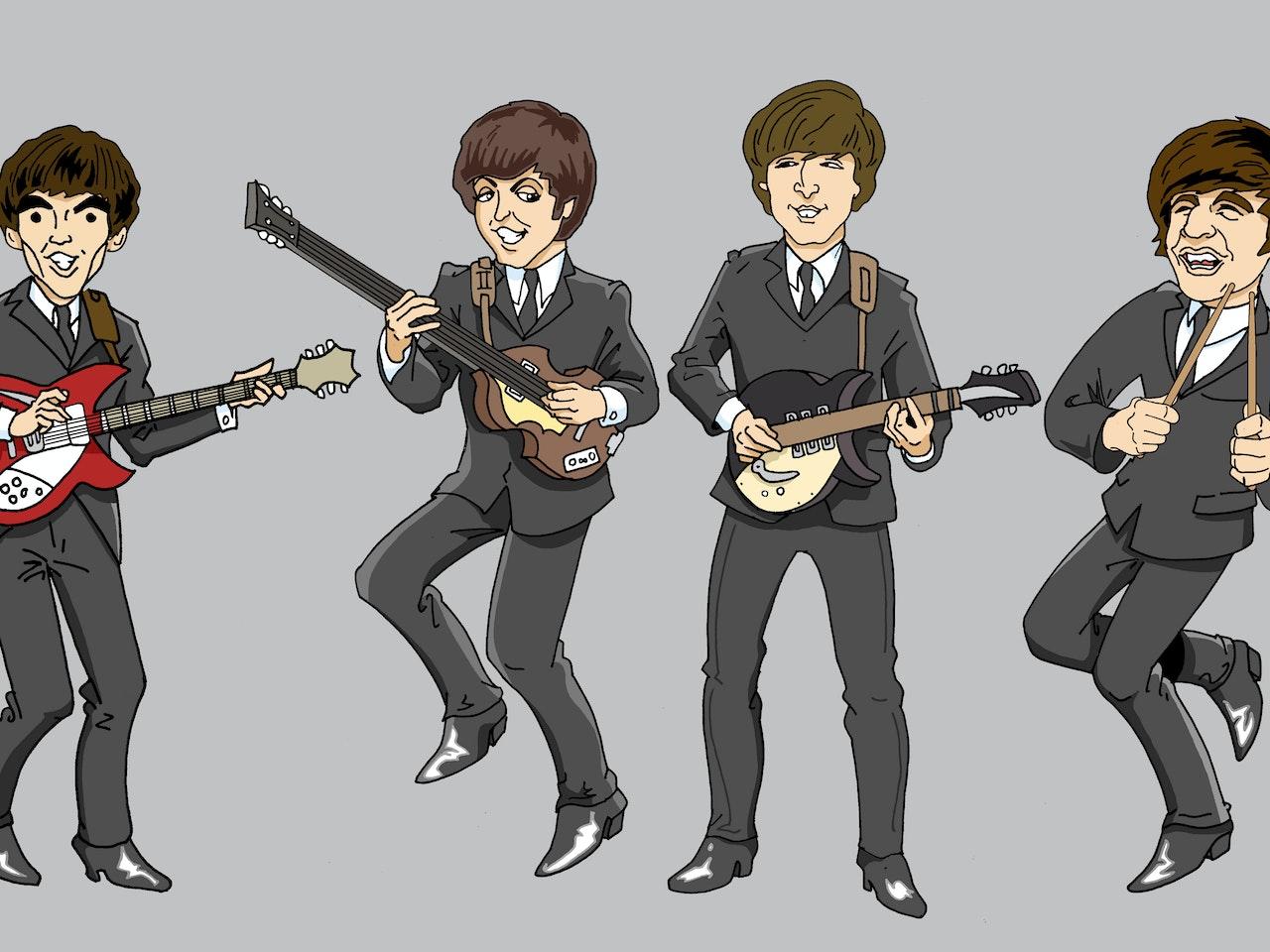 funny happy humorous comical colourful graphic cartoon anime FAB 4  beatles liverpool john paul george ringo moptop music merseybeat retro 1960 swinging '60s