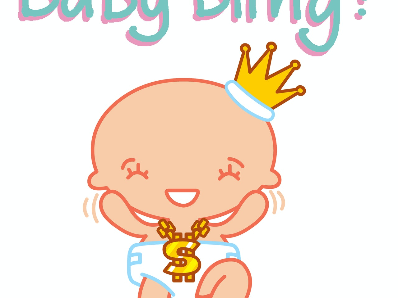 cute cool manga anime baby character design with gold crown , chain and nappy-bling!