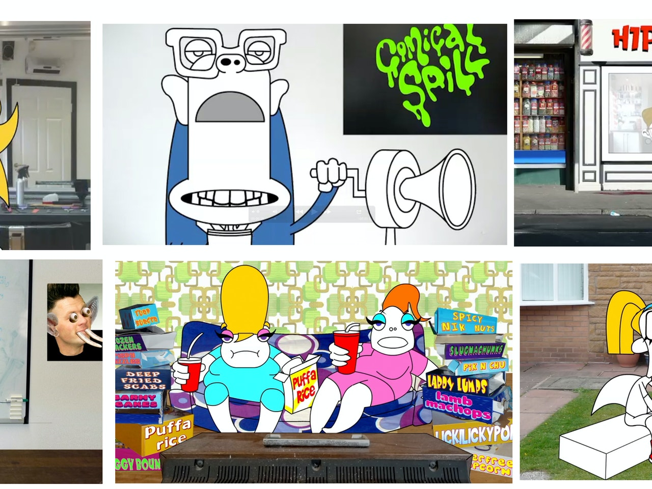 youtube  animation mobile website internet online game gaming   street art urban vinyl character hip hop photographic background  urban vinyl character browsing streaming social network profile  facebook  collage retro