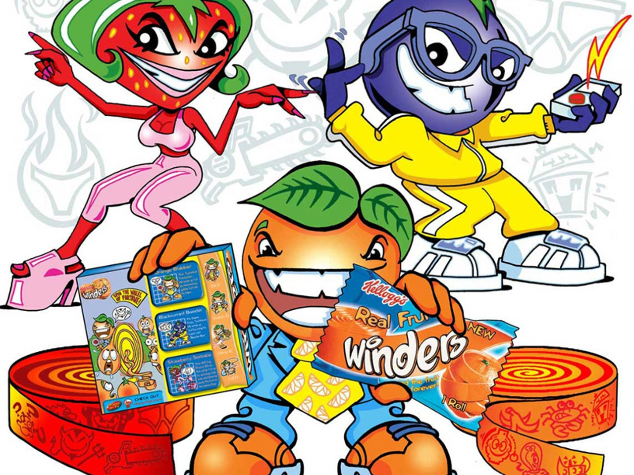 Kelloggs Fruit Winders gang  packaging design Cool friendly funny Funky Happy manga anime childrens cartoon comic strip Book cover illustration animation