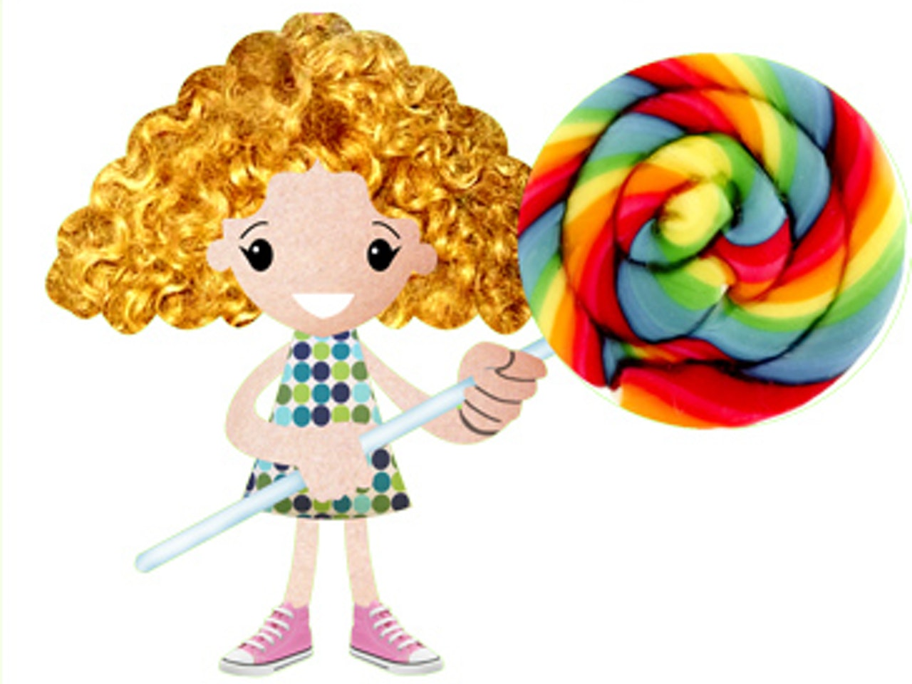 curly hair girl with lollipo collage funny happy humorous comical colourful graphic illustration   retro vintage 1950s textile patterns