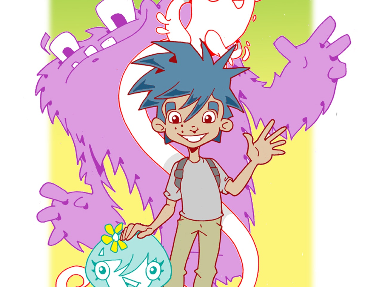 Cool urban vinyl funky friendly manga anime monster alien characters and teen boy