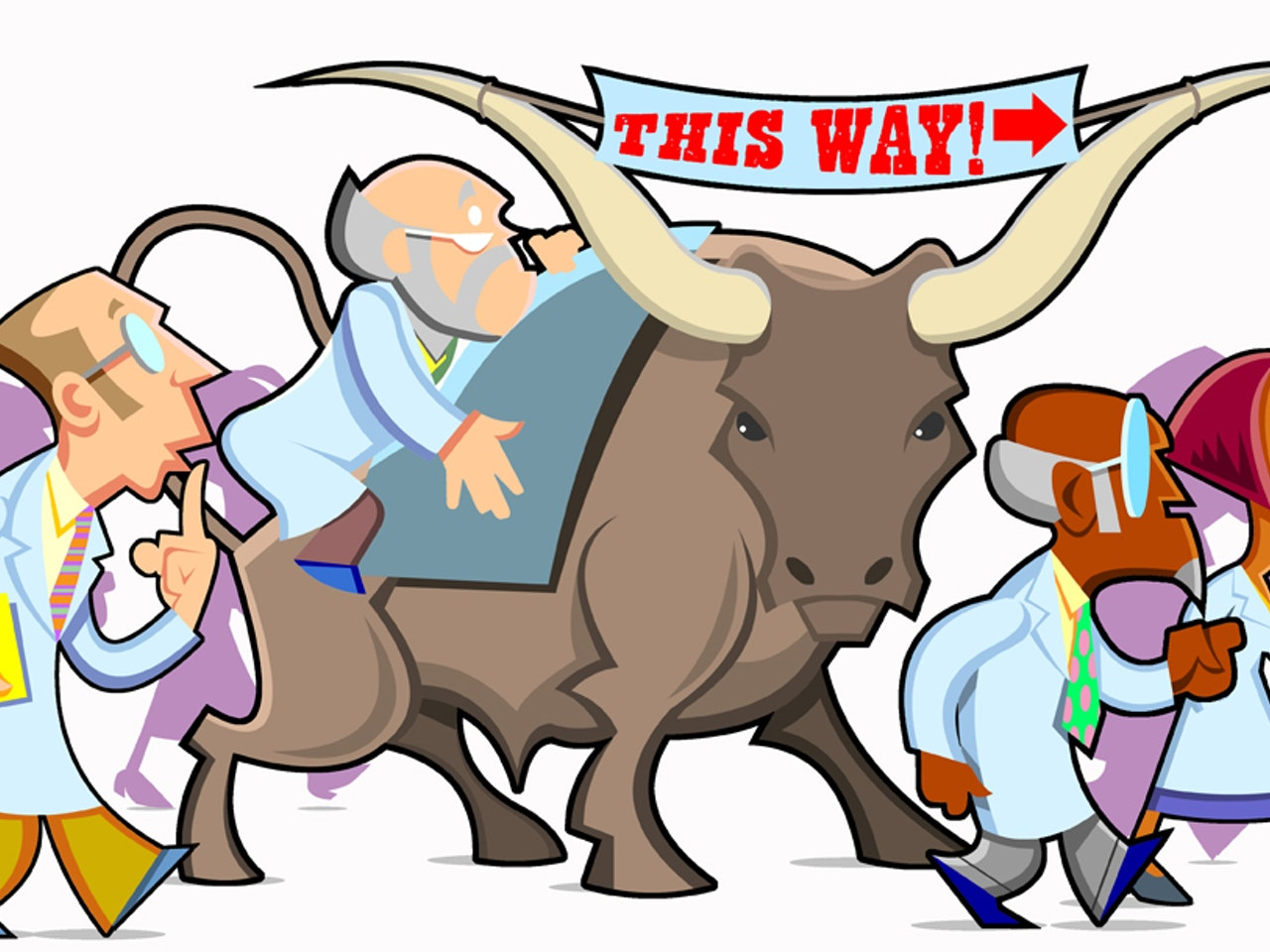 longhorn bull scientists science internet funny happy humorous comical colourful graphic cartoon anime
