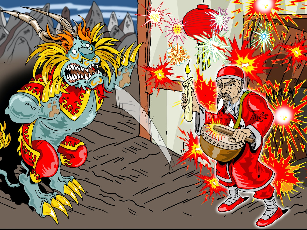 ancient myth legend horror monster spirit china chinese lion fireworks  manga anime childrens cartoon comic strip Book cover illustration animation