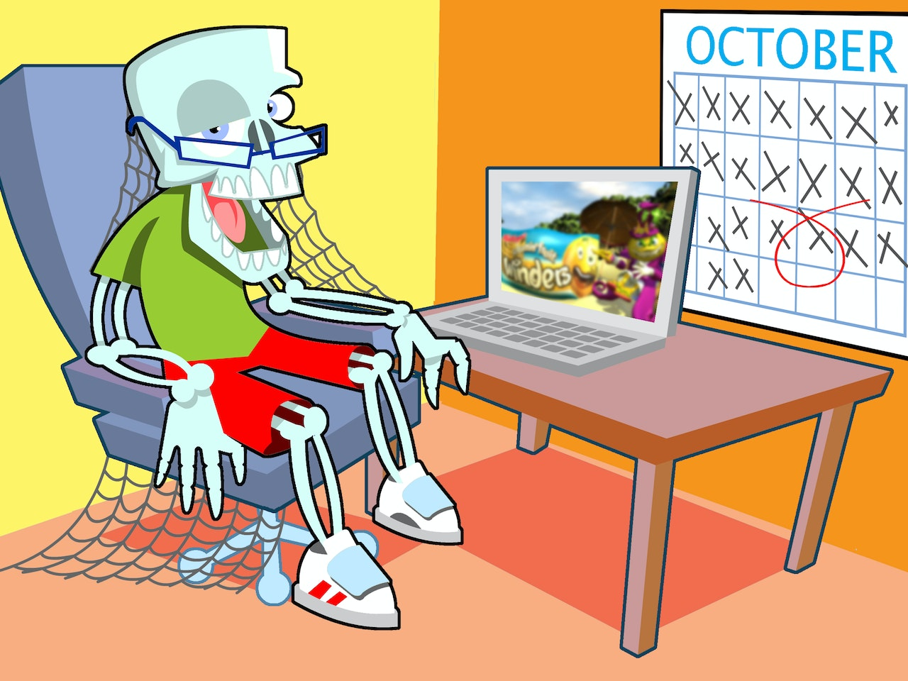 funny happy humorous comical colourful graphic cartoon anime skeleton cobwebs internet online browsing streaming social network profile  facebook