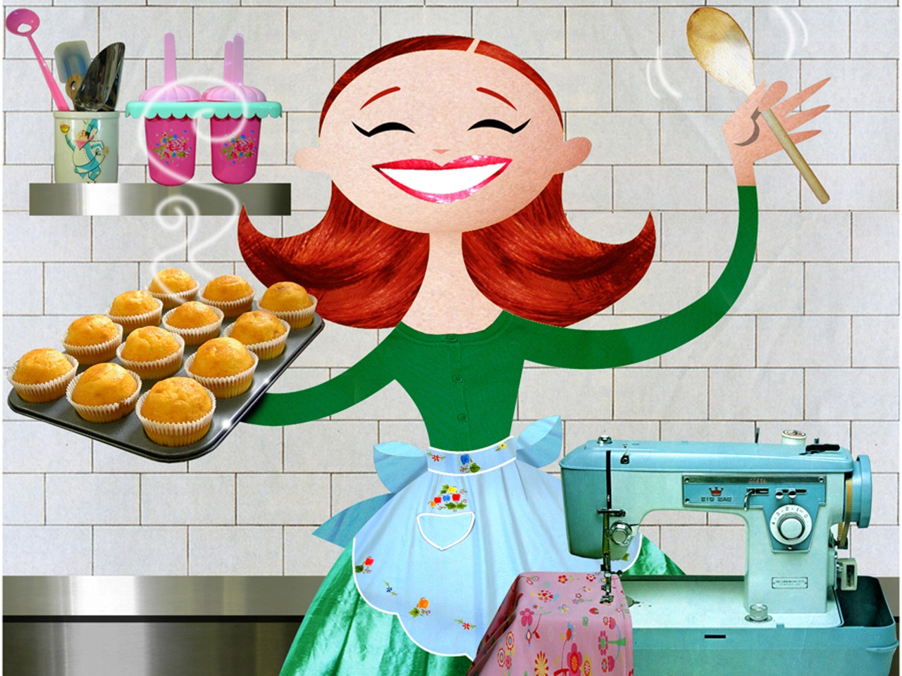 collage funny happy humorous comical colourful graphic illustration  baking cakes sewing kitchen cleaning retro vintage style 1950's