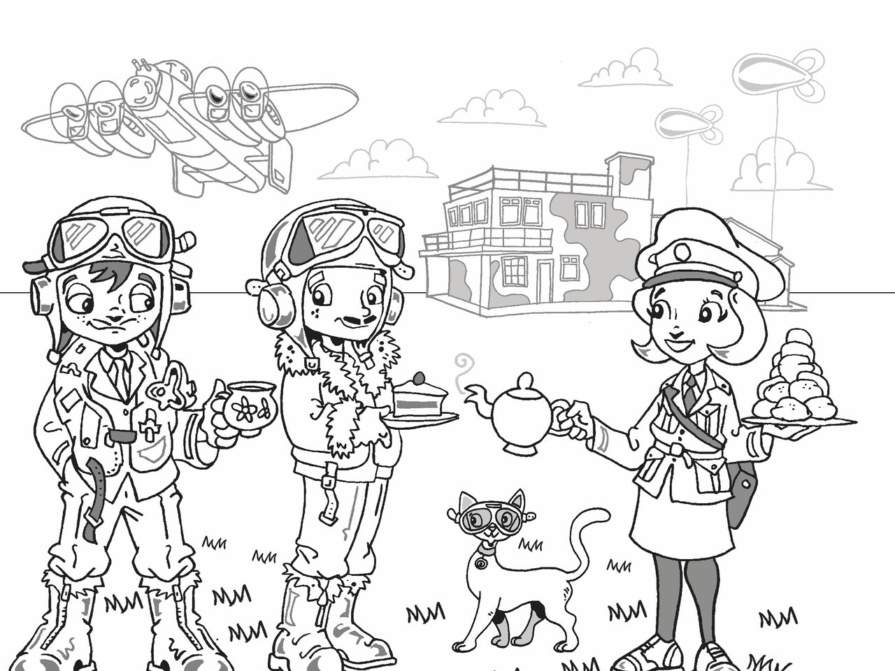 light hearted retro educational historical RAF heroes aviation cartoon illustration child pilots comic strip lancaster bomber plane ww2 airfield