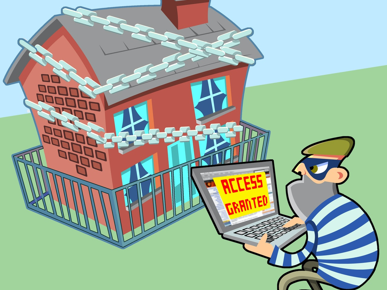 funny happy humorous comical colourful graphic cartoon  Security burglar robber robbery  internet online fraud chains house home