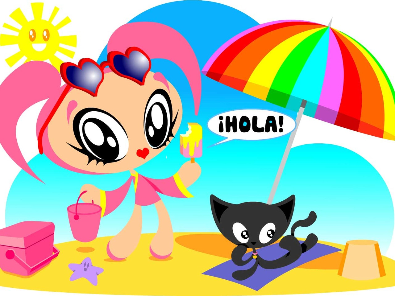 Cool funny Funky Happy manga anime childrens cartoon Lucky girl on beach with cat ice cream umbrella sunny
