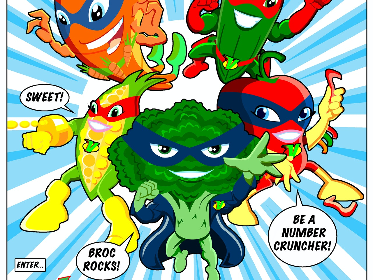 brocolli cucumber carrot pepper sweetcorn hero fantasy sci fi food vegetable healthy eating health superheroes five a day fruit  burger Book cover childrens illustration animation funny  humorous comical colourful graphic novel comic strip cartoon comic book manga anime educational publishing