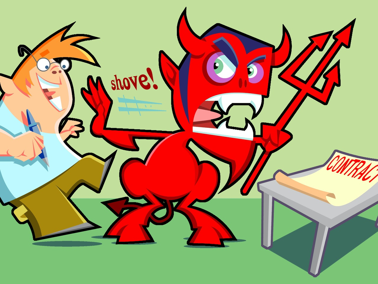 DEVIL demonic hell contract funny happy humorous comical colourful graphic cartoon