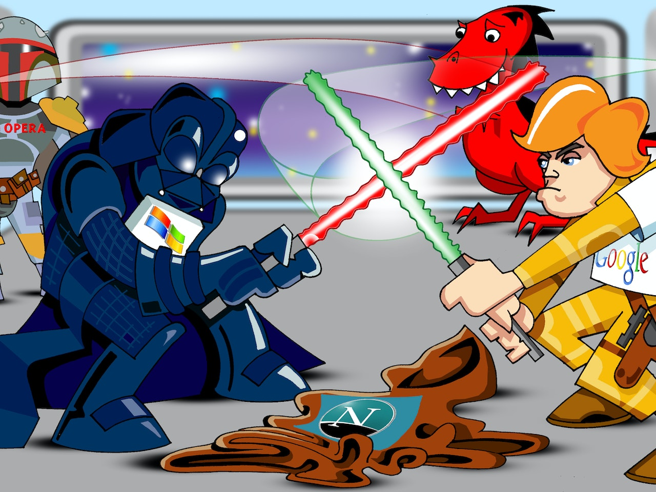 science fiction funny happy humorous comical colourful graphic cartoon star wars darth vader ben kenobi  luke skywalker boba fett  lightsabre fight