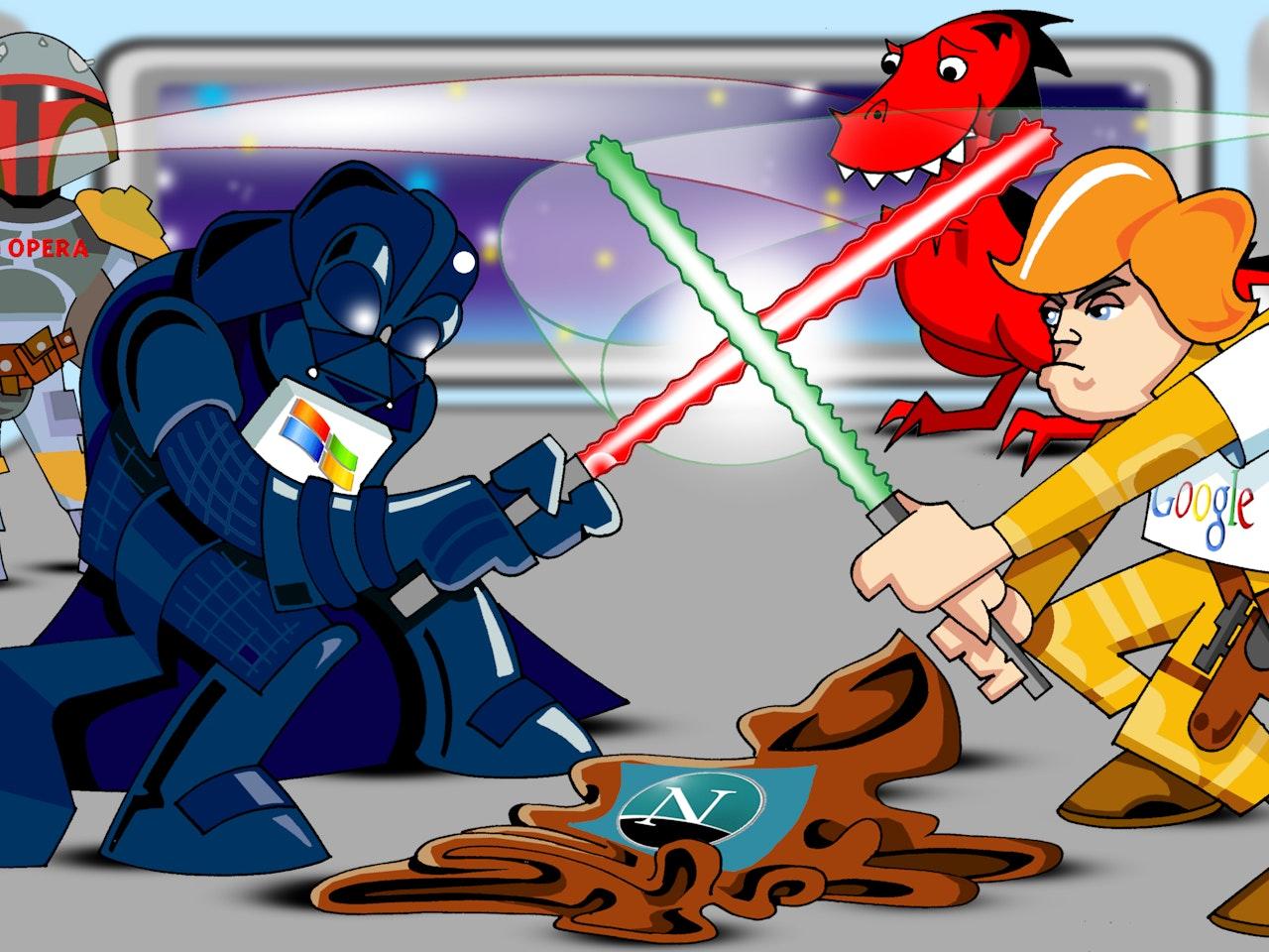 science fiction funny happy humorous comical colourful graphic cartoon star wars darth vader ben kenobi  luke skywalker boba fett  lightsabre fight
