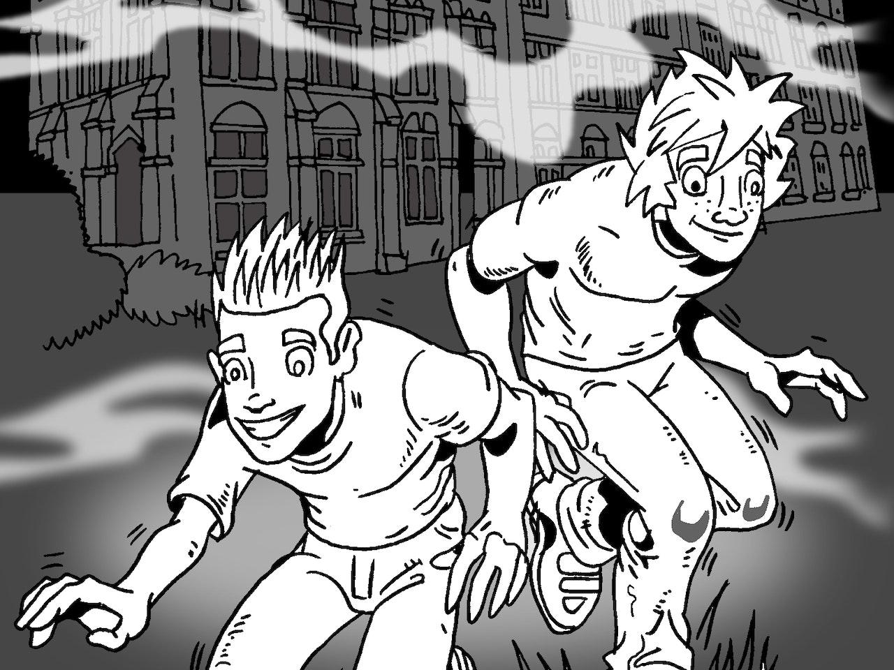 spooky horror manor manga anime childrens cartoon comic strip Book cover illustration animation