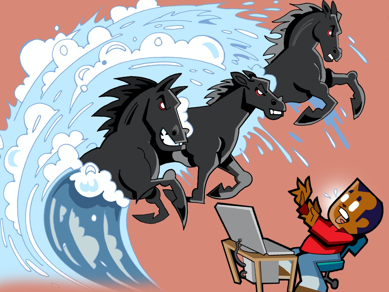 computer black horses tidal wave horses surf wipeout internet funny happy humorous comical colourful graphic cartoon