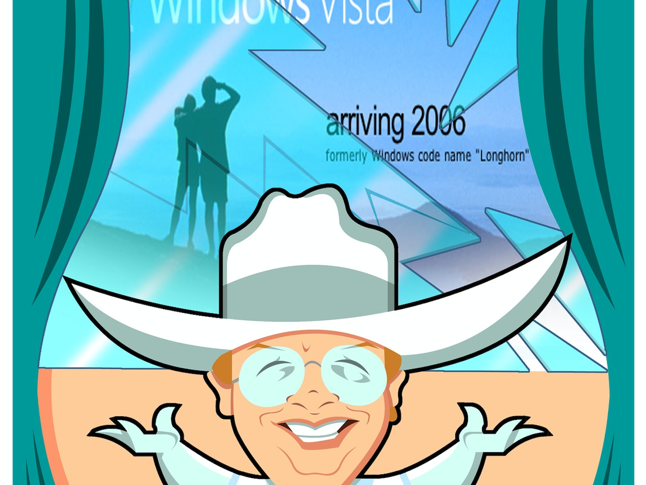 funny happy humorous comical colourful graphic cartoon cowboy