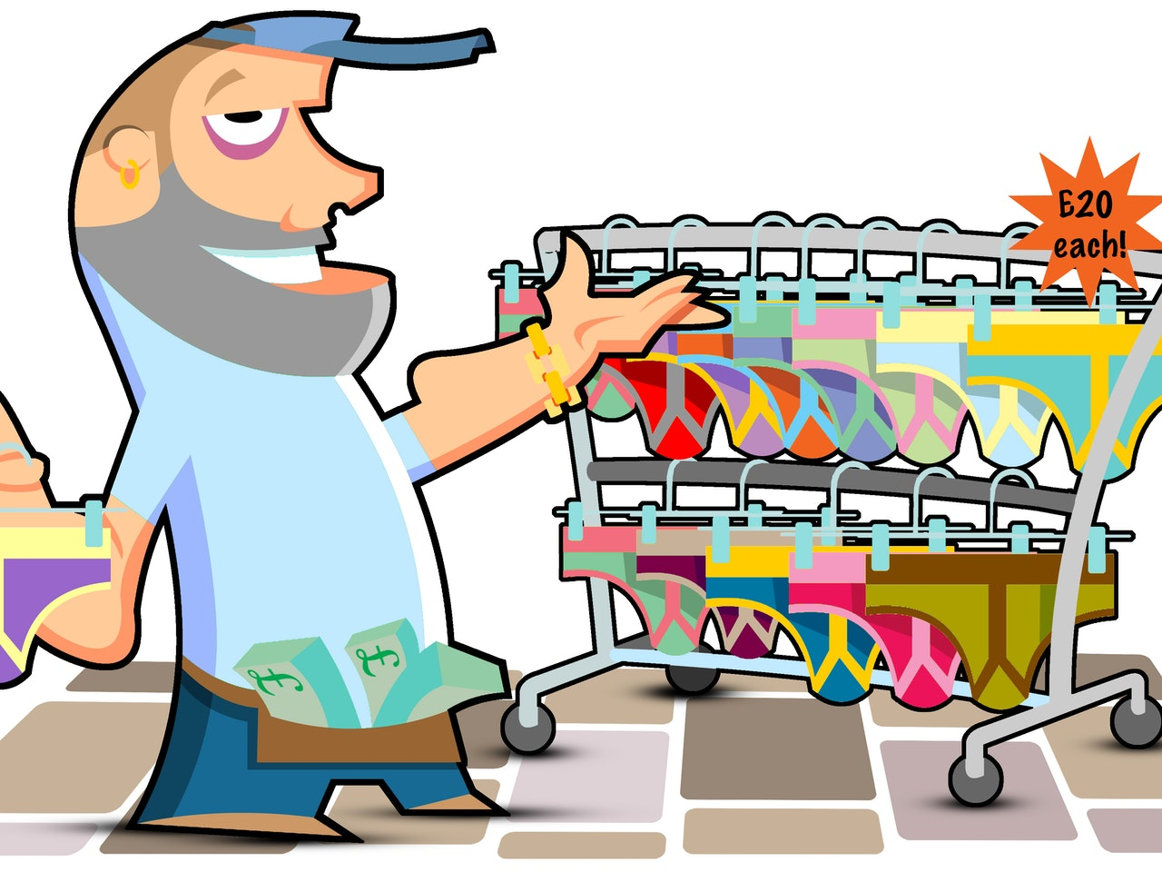 funny happy humorous comical colourful graphic cartoon anime street sales underpants undwerwear car boot sale shopping sales