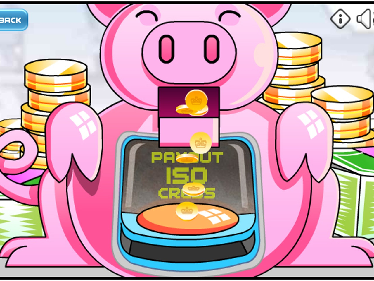 humorous comical colourful graphic cartoon anime robotic pig money piggy bank finance mobile website online game gaming