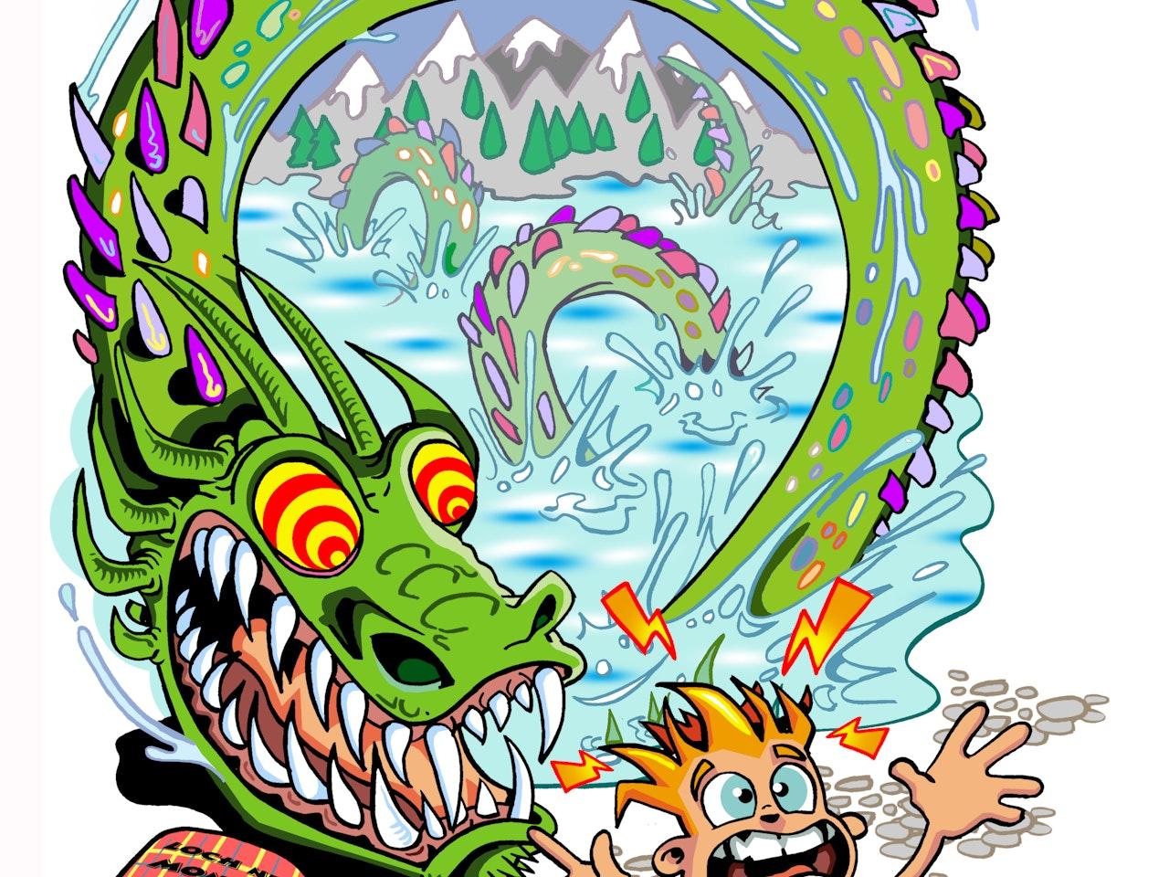 loch ness monster serpent snake myth legend scottish funny Funky Happy manga anime childrens cartoon comic strip Book cover illustration animation